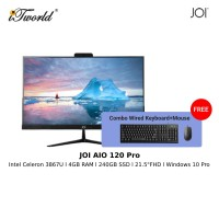 """JOI AIO (120 Pro) - PT-A120PR (Cel 3867U/4GB/240GB SSD/21.5""""/W10P/Black) Free Wired USB Keyboard and Mouse"""