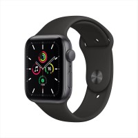 Apple Watch SE GPS, 44mm Space Gray Aluminium Case with Black Sport Band