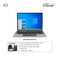 "JOI Book 200 Pro (Pentium J3710,4GB,64GB,13.5"",W10Pro,GRY) + Abodos Bluetooth Headphone Black + Canon Pixma MG2570s Printer + Disposable 3 Layer Face Mask + 256GB SSD + JOI Backpack (Blue)"