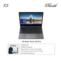 "JOI Book Touch 330 Pro (N4120,4GB+64GB,13.3"" FHD,W10Pro) + 256GB SSD + UGREEN USB-C To 3*USB 3.0 A+HDMI+VGA+RJ45 Gigabit+SD/TF+AUX3.5mm+PD Converter Adapter + Disposable 3 Layer Face Mask + JOI Active Pen Pro 330 + JOI Backpack (Blue)"