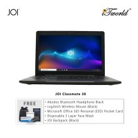 "JOI Classmate 30 (i3-1005G1, 4GB, 256GB SSD, Intel UHD Graphics 600, 14"" HD,W10Pro) + Abodos Bluetooth Headphone Black  + Logitech Wireless Mouse M170 - BLACK + Microsoft Office 365 Personal (ESD) + Disposable 3 Layer Face Mask + JOI Backpack (Black)"