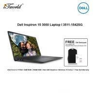 """Dell Insp 3511-1542SG Laptop (i3-1115G4,4GB,256GB SSD,Intel UHD,H&S,W10H,15.6""""FHD,Black,1Yr) [FREE] Dell Backpack + Pre-installed with Microsoft Office Home and Student 2019+Shield Care 1Y EW"""