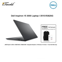 """Dell Inspiron 3515-R382SG Laptop (AMD Ryzen3 3250U,8GB,256GB SSD,Integrated,H&S,W10H,15.6""""FHD,Black,1Yr) [FREE] Dell Backpack + Pre-installed with Microsoft Office Home and Student 2019+Shield Care 1Y EW"""