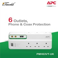 APC Home/Office SurgeArrest 6 outlets with Phone and Coax Protection 230V UK PMH63VT-UK - White