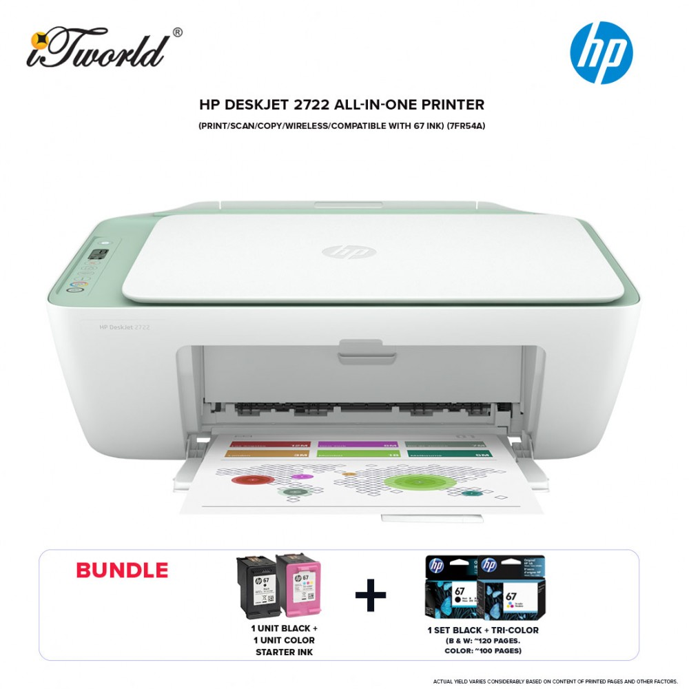HP Deskjet 2722 All-in-One (Print/Scan/Copy/Wireless/67 ink) (7FR54A) *Bundle with Ink