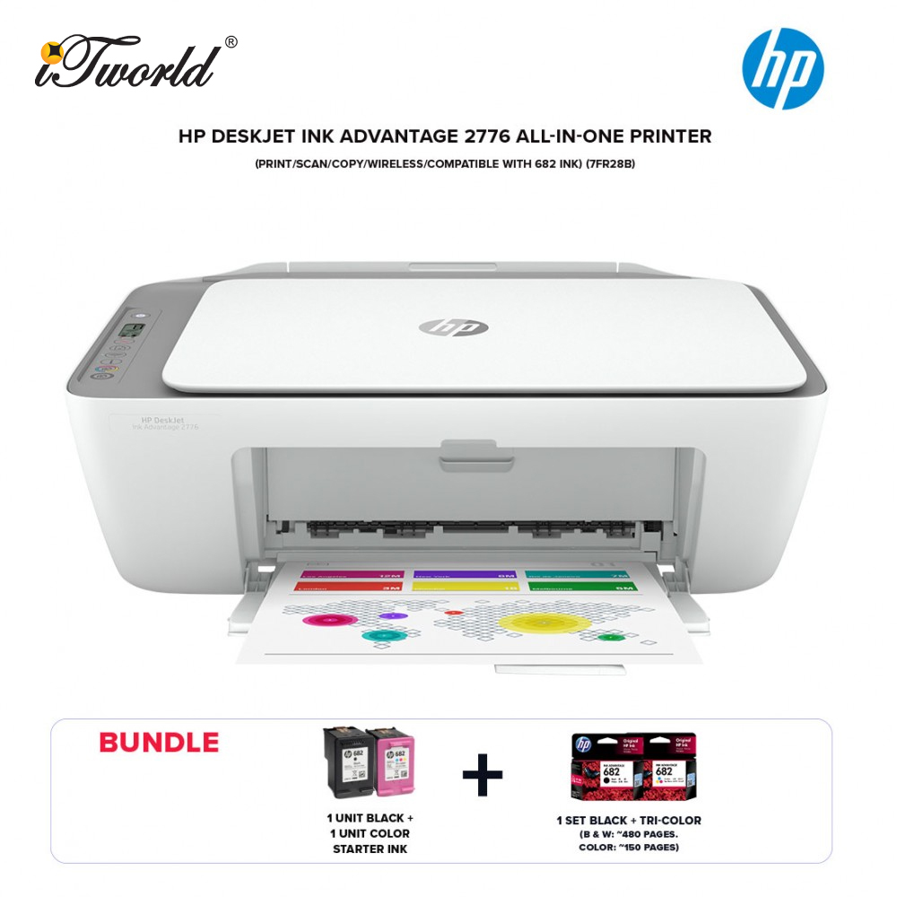 HP DeskJet Ink Advantage 2776 All-in-One Printer (Print/Scan/Copy/Wireless/Compatible with 682 ink) (7FR28B)